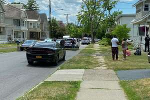 Scene near standoff on Dean Street in Schenectady, NY, June 19, 2020. (Mike Goodwin/Times Union)