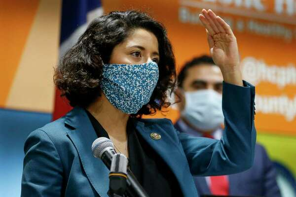 Harris County Judge Lina Hidalgo, shown here April 20, will issue an order mandating that businesses require their customers to wear face masks to reduce the chances of spreading the novel coronavirus.