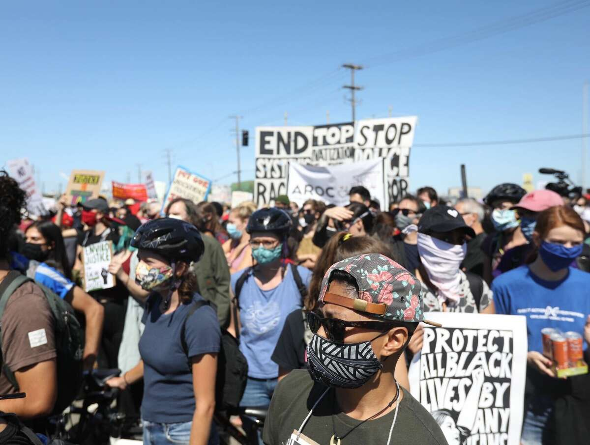 Oakland Port Workers protested racism, police abuse against minorities on June 19, 2020 in Oakland. They marched from the port to Oakland City Hall.