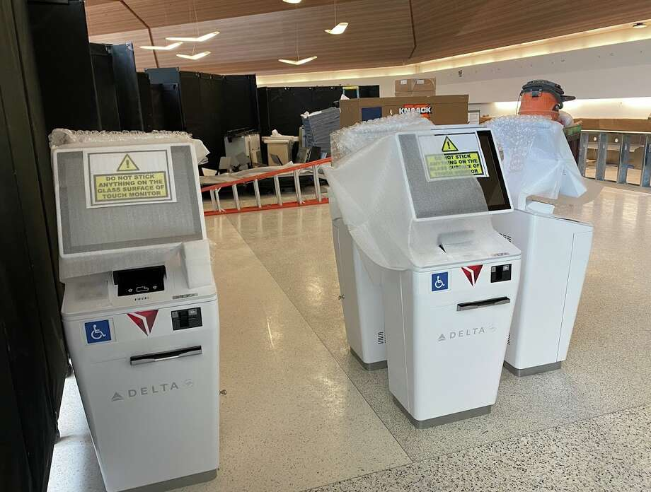 Delta's check in kiosks await installation at SFO's Terminal 2 Photo: Chris McGinnis