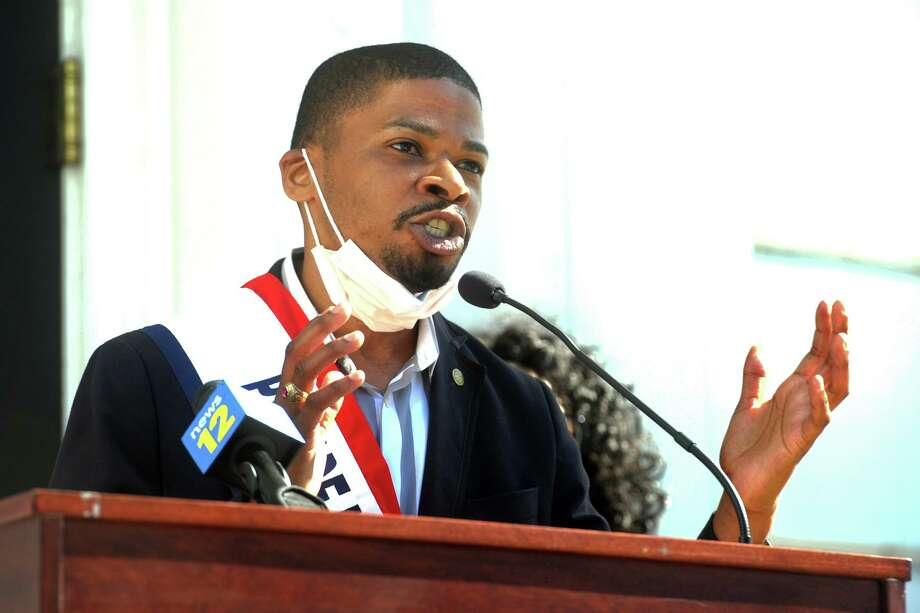 Town councilman David Harden speaks during a Juneteenth observance on the front steps of Stratford Town Hall, in Stratford, Conn. June 19, 2020. Photo: Ned Gerard / Hearst Connecticut Media / Connecticut Post