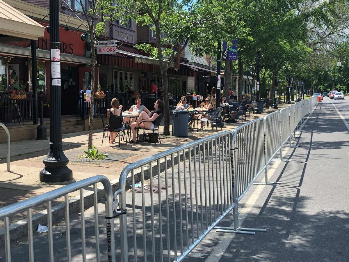 The section of Madison Avenue where the city of Albany is blocking off parking spots to create more room for outdoor dining on Friday, June 19, 2020. (Gary Hahn / Times Union)