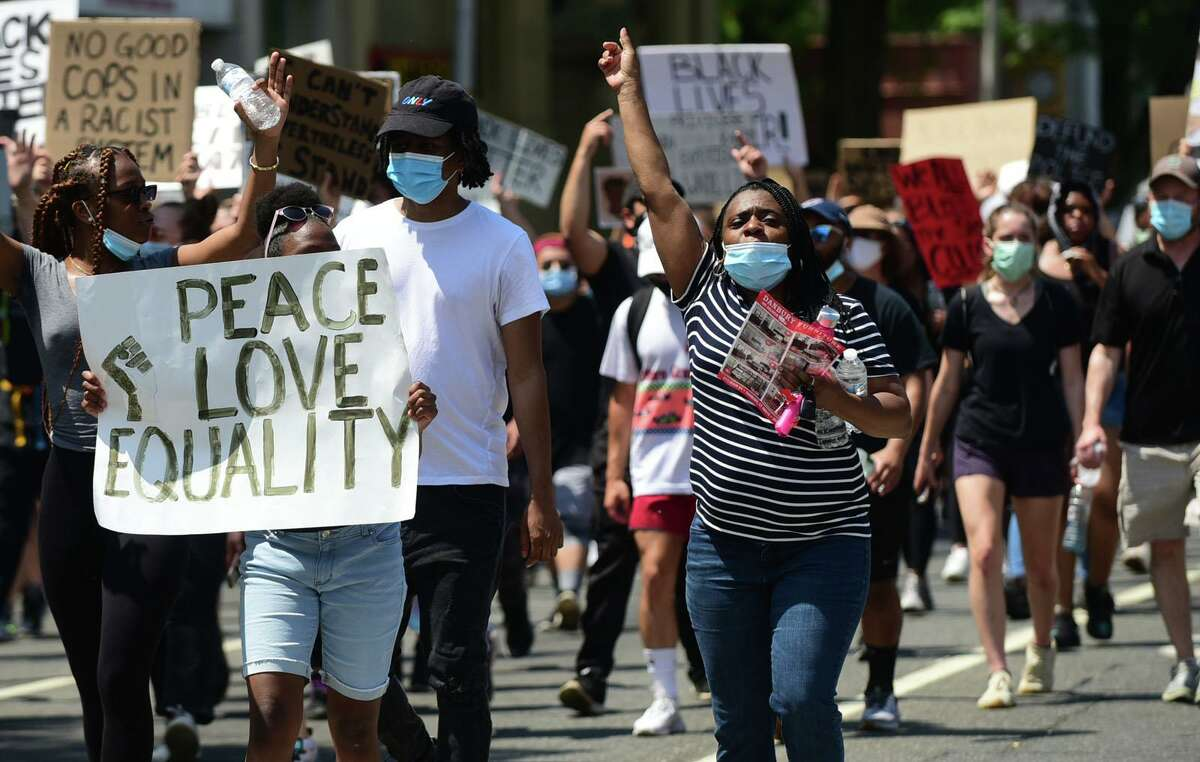 Nearly 1,000 people peacefully protested against racism June 6 in Danbury.