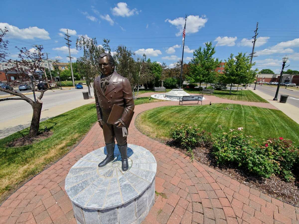 Ninian Edwards statue and plaza