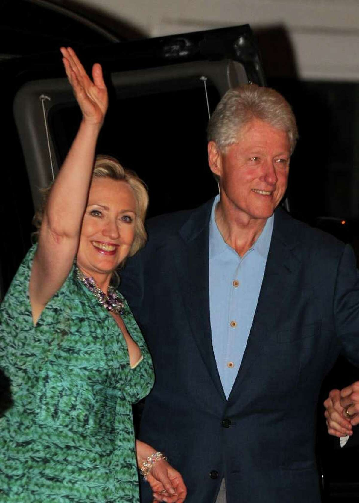 RHINEBECK, NY - JULY 30: Secretary of State Hillary Clinton and former U.S. President Bill Clinton attend Chelsea Clinton & Marc Mezvinsky's pre-wedding Party at the Beekman Arms Inn on July 30, 2010 in Rhinebeck, New York. (Photo by Bryan Bedder/Getty Images) *** Local Caption *** Hillary Clinton;Bill Clinton