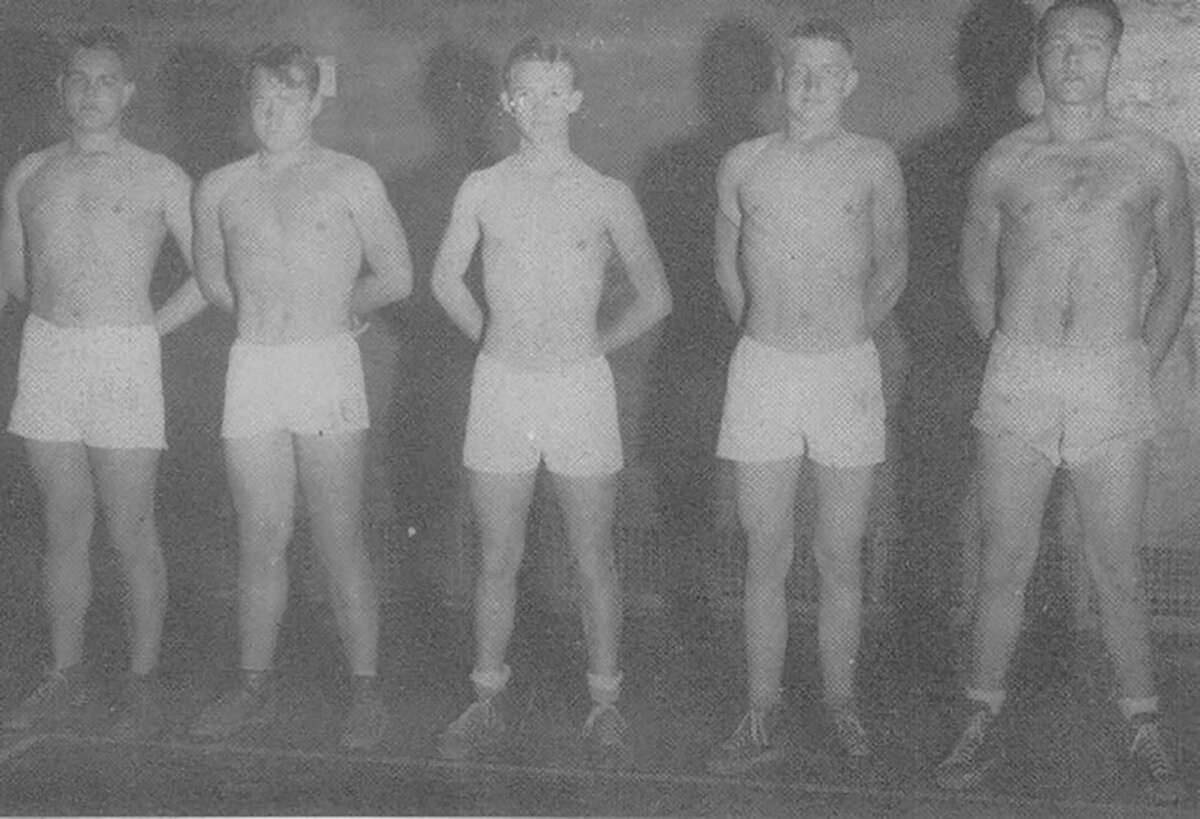 High school entrants into Conroe's boxing tournament in 1947. Don Granger, former Conroe high coach and teacher is pictured at right.