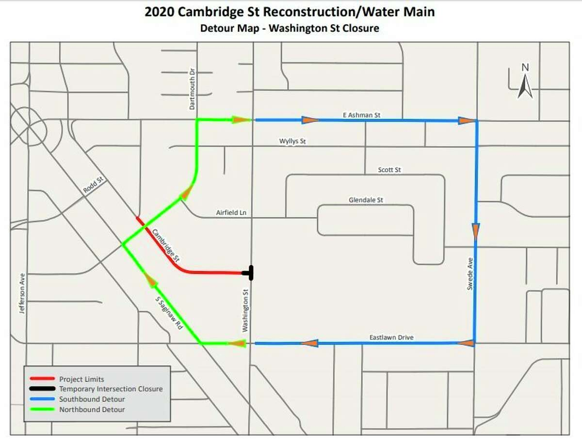 A detour map shows the route motorists can take whileWashingtonStreet is closed for a water man and street reconstruction project on Cambridge Street. (Map provided/City of Midland).