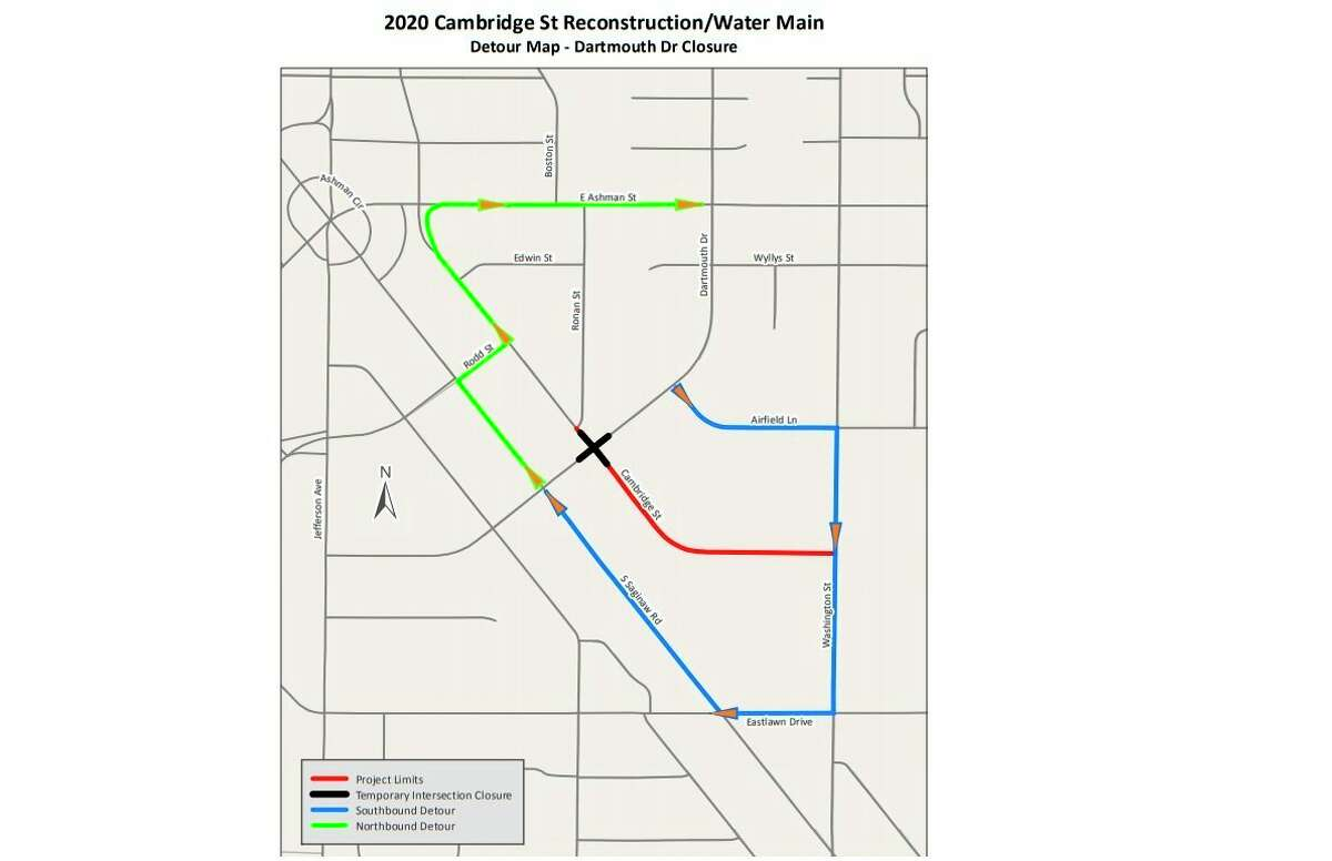 A detour map shows the route motorists can take while Dartmouth Drive is closed for a water man and street reconstruction project on Cambridge Street. (Map provided/City of Midland).