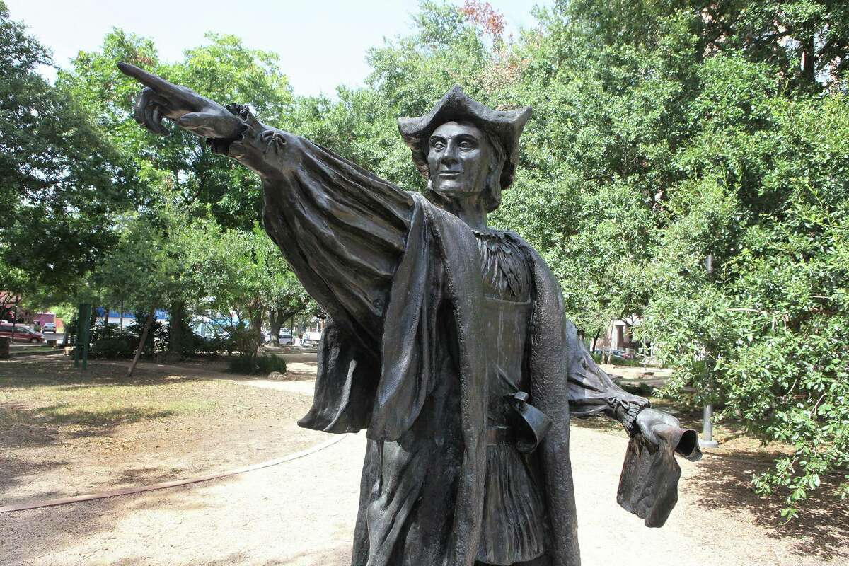Statue of Christopher Columbus shown here pre-vandalism in Bell Park off Montrose in Houston . (Photo by Alan Warren)