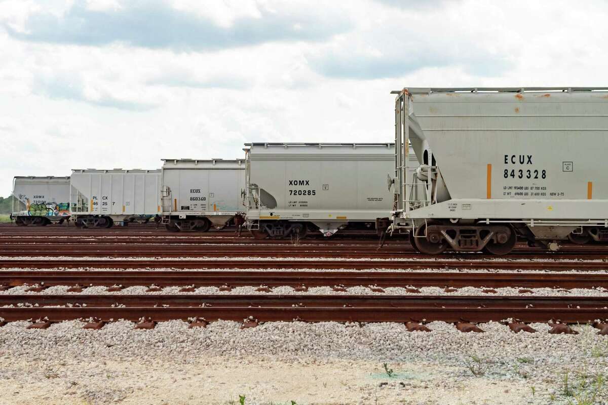 Filled hopper cars wait to be transported to industrial clients. Iron Horse Terminals, the new industrial rail yard in west Beaumont, provides storage for railcars which act as mobile warehouses for their tenants. Eventually the facility will hold 4500 cars on its tracks. Photo made on June 17, 2020. Fran Ruchalski/The Enterprise