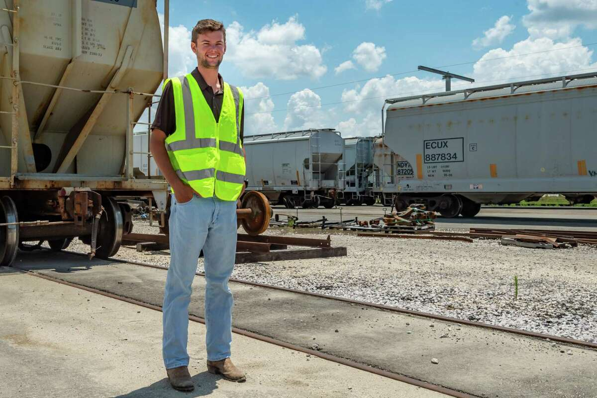 General manager Cody Birdwell stands among the filled railcars being stored onsite. Iron Horse Terminals, the new industrial rail yard in west Beaumont, provides storage for railcars which act as mobile warehouses for their tenants. Eventually the facility will hold 4500 cars on its tracks. Photo made on June 18, 2020. Fran Ruchalski/The Enterprise