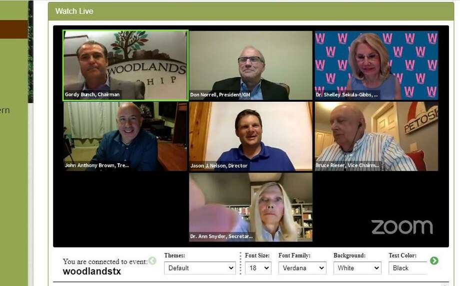 The Woodlands Township Board of Directors begins Thursday what will be a very busy six weeks of activity. The board meeting on July 16 is the first of nine meeting scheduled through late August, five of which are the special budget planning seminars over a week-long period. The meeting will be hosted online again, via Zoom video conference technology, and is scheduled for 6 p.m. Thursday, July 16. Public comment is available via telephone calls, with a special number published in the meeting agenda. Callers will be put on hold, then called to speak when it is their turn. Residents who do call are asked to mute their line until their turn to speak is called. Residents are also asked to monitor the meeting so that they can speak when it is their turn. Photo: Courtesy Images / Courtesy Images