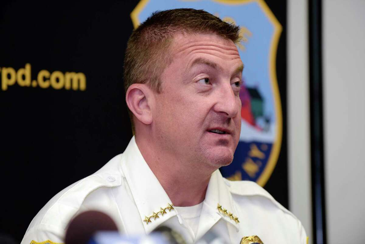 Schenectady Police Chief Eric Clifford talks to the media about Public Safety Commissioner Wayne Bennett who died early Tuesday, during a press conference on Tuesday, Aug. 15, 2017, in Schenectady, N.Y. (Paul Buckowski / Times Union)