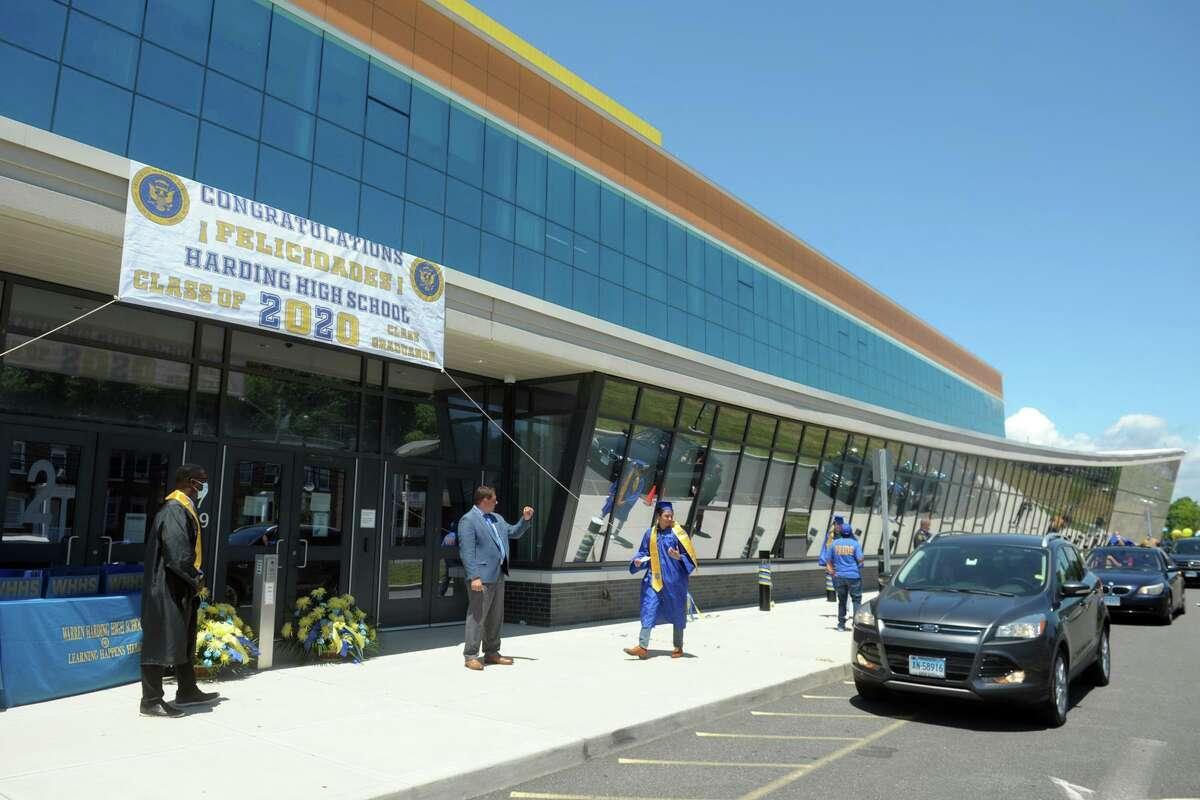 Graduation for the Harding High School Class of 2020, in Bridgeport, Conn. June 19, 2020.