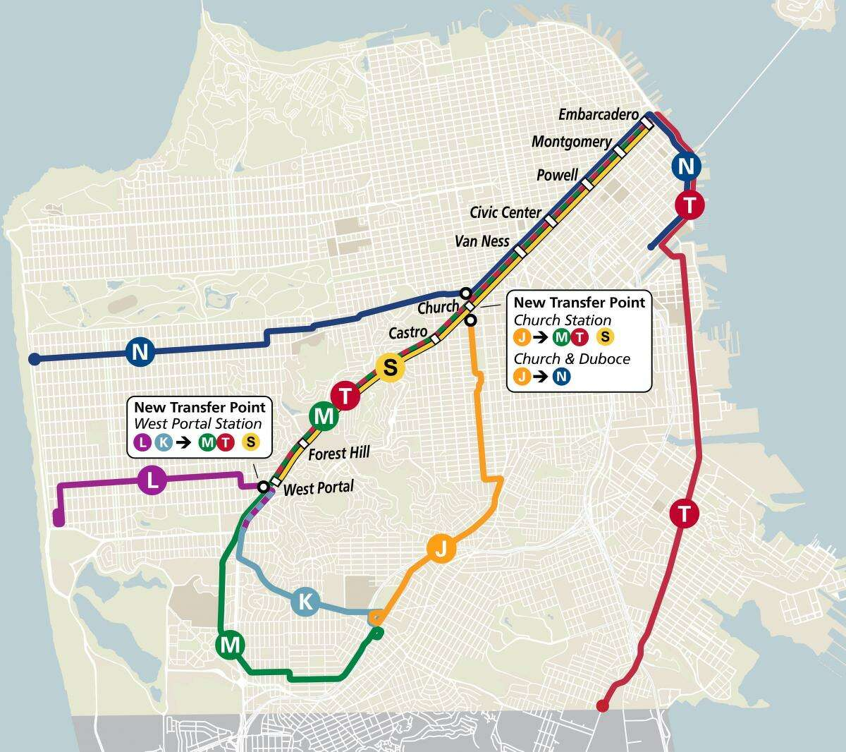 A map of the new Muni Metro rail configuration beginning in August.