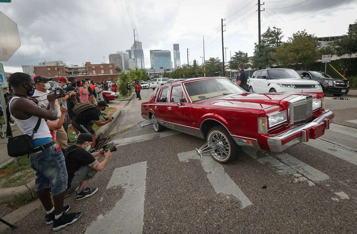 Trae Tha Truth hosted a celebration of Juneteenth with slabs, vehicles and swangas to start a Peace Ride for Justice at 900 Emancipation Ave. Friday, June 19, 2020, in Houston.