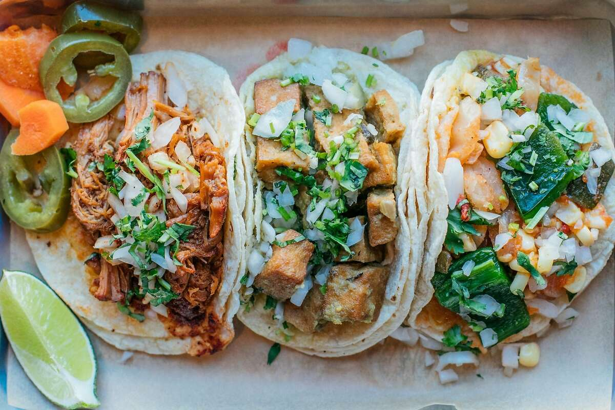 A trio of tacos from Comal Next Door in Berkeley, which is expanding to Oakland near Lake Merritt on June 22.