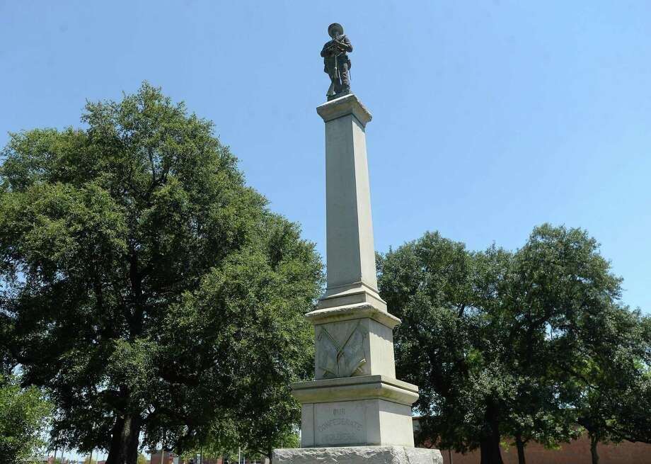 "On the agenda for next week's City of Beaumont cirty council meeting is the issue of the city's Confederate statue in Wiess Park. The monument honors ""Our Confederate Soldiers"" and bears the Confederate and Texas flags. Photo taken Friday, June 19, 2020 Kim Brent/The Enterprise Photo: Kim Brent / The Enterprise / BEN"