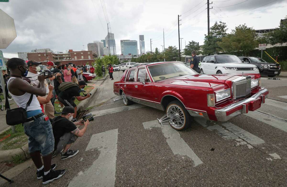 Trae Tha Truth hosted a celebration of Juneteenth with slabs, vehicles, and swangas to start a Peace Ride for Justice at 900 Emancipation Avenue Friday, June 19, 2020, in Houston.