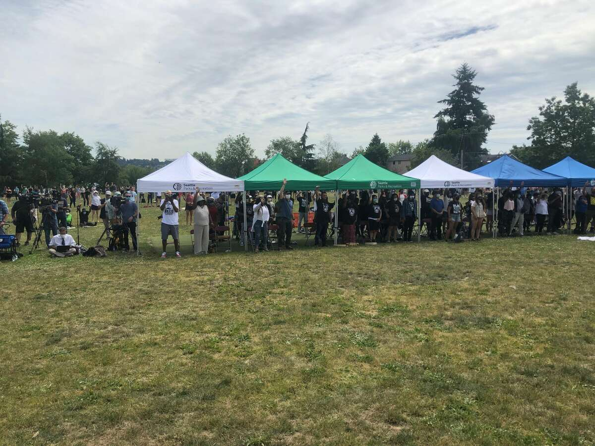 People gathered in Judkins Park at 1 p.m. for the Not This Time rally, seated under tents and across the field.
