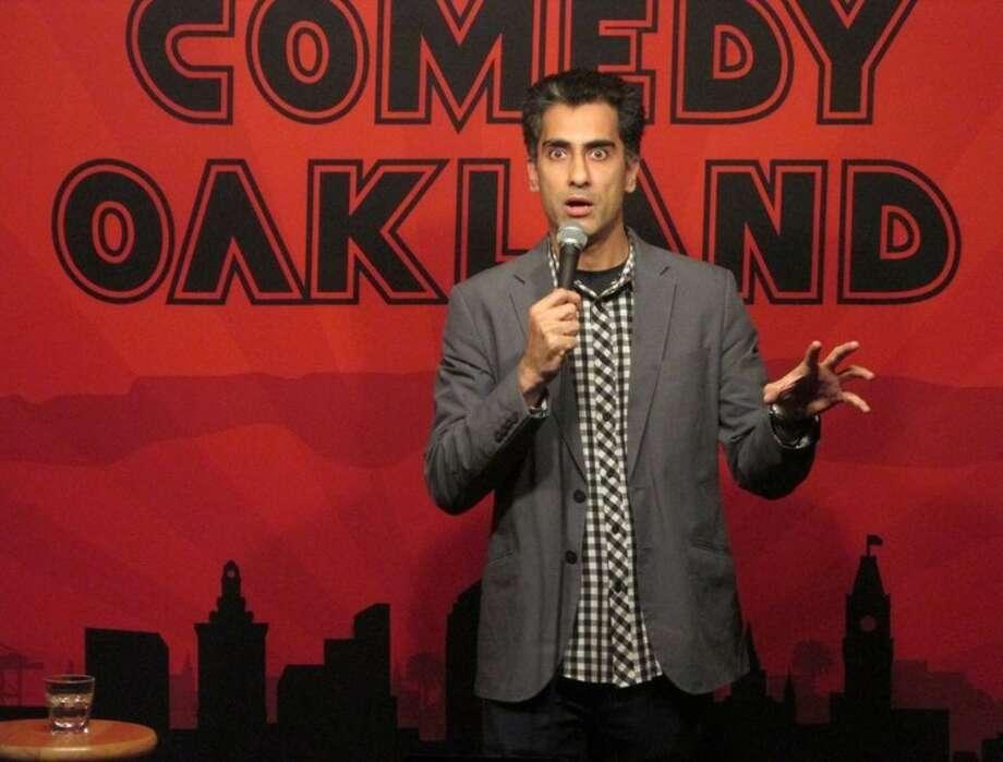 San Francisco-based comedian Samson Koletkar on stage at Comedy Oakland.   Photo: Comedy Oakland
