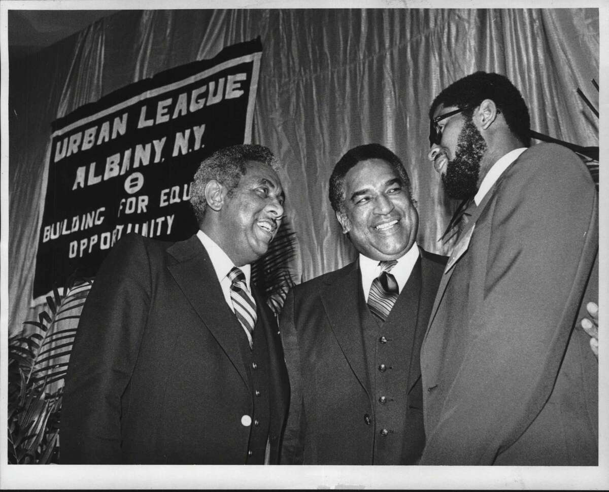 In June 1979, Albany Urban League President John Haith welcomed guest speaker Dr. Vincent Reed, superintendent of schools in Washington, D.C., along with the League's Executive Director Colwyn W. Allen. (Raymond Summers/Times Union Archive)