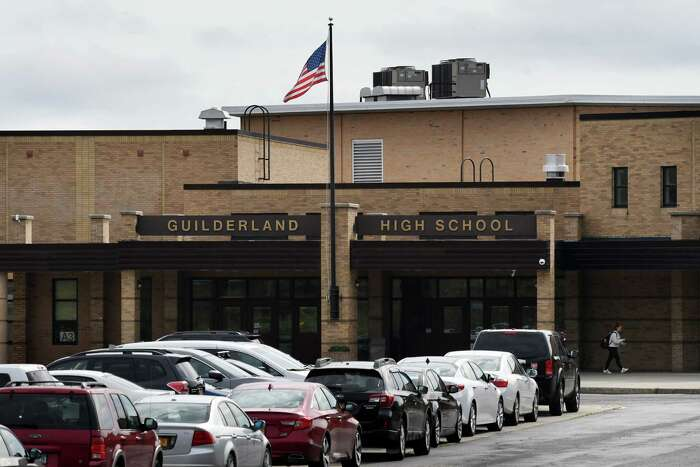Exterior of Guilderland High School on Thursday, Oct. 4, 2018, in Guilderland, N.Y. Albany County Comptroller Michael F. Conners II is upset with the school district over what he says are deceptive budget voting practices geared towards low turnout. He believes school districts should hold budget votes in conjunction with primary and general elections. (Will Waldron/Times Union)