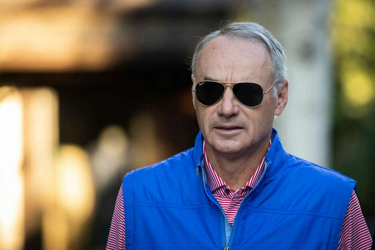 Rob Manfred, commissioner of Major League Baseball, attends the annual Allen & Company Sun Valley Conference, July 12, 2019 in Sun Valley, Idaho. (Drew Angerer/Getty Images/TNS)