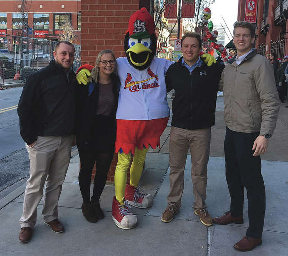 Students from John Drea's class at Illinois College visit the St. Louis Cardinals' Busch Stadium in 2018 to present findings from a project as part of a business administration class that gave them real-world experience.