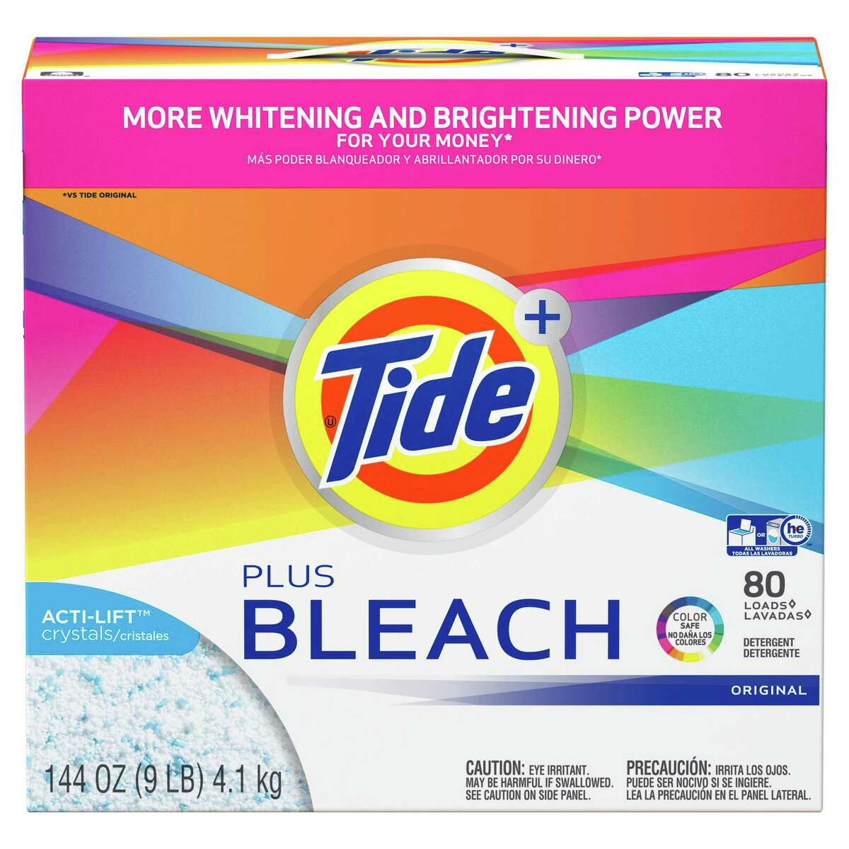 1) Tide Plus Bleach Powder Detergent: $18.96 Shop Now There's no beating Tide Plus Bleach Powder, which works just as well in cold water as hot. It also gives clothes a splash of color-safe bleach to make your whites and colors brighter with every cycle. It does not contain chlorine bleach so that's what makes it safe for all washable fabrics and colors.