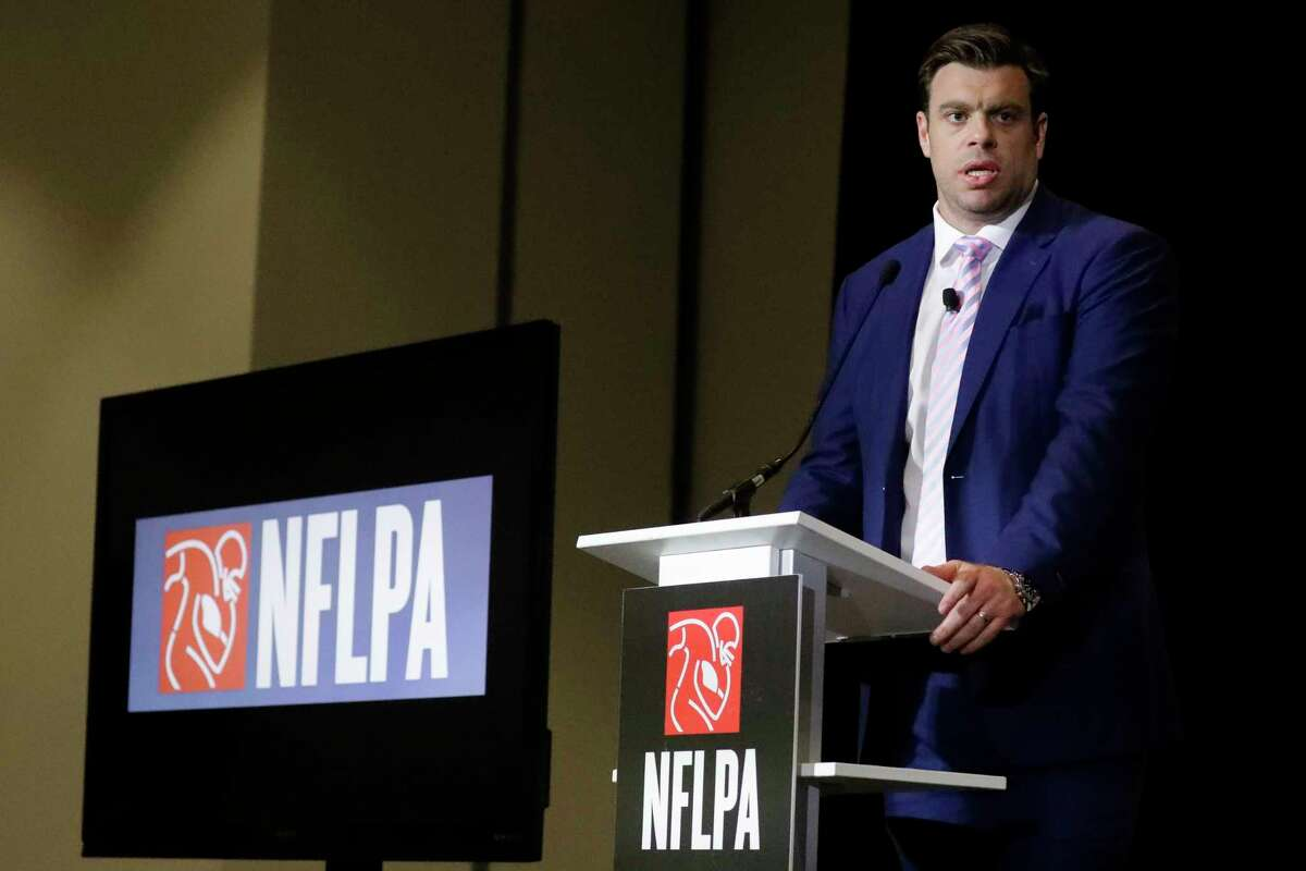 FILE - In a Thursday, Jan. 30, 2020 file photo, Eric Winston, president of the NFL Players Association, speaks at the annual state of the NFLPA press conference, in Miami Beach, Fla. (AP Photo/Chris Carlson, File)