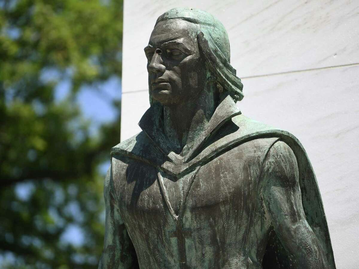 The Christopher Columbus statue at Seaside Park in Bridgeport, Conn. on Monday, June 15, 2020. The statue has been vandalized in the past.