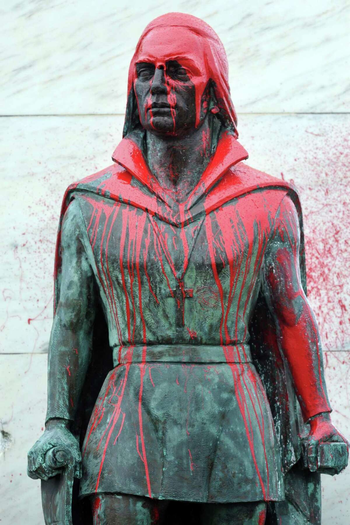 The statue of Christopher Columbus in Bridgeport, Conn.'s Seaside Park was splattered with red paint priot to Columbus Day, 2017.