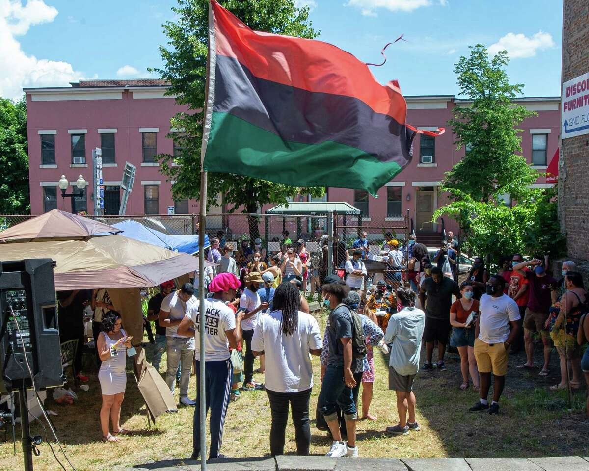 The crowd at the annual Juneteenth celebration at the African American Cultural Center of the Capital Region on Pearl Street in Albany NY on June, 20, 2020. Juneteenth, or June 19, is the day slavery was abolished in the U.S. (Jim Franco/Special to the Times Union.)