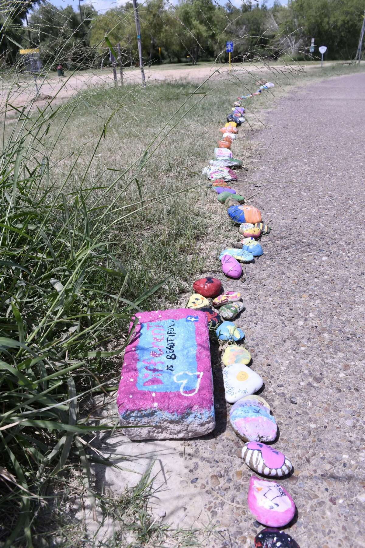 Visitors to North Central Park and other parks throughout Laredo have noticed the COVID-19 Snake, a collection of hand painted rocks lined up as a snake where participants can express their thoughts and show off their artistic talent. The project was started on June 3, 2020 by Once Upon A Rockk, a group for rock lovers.People are asked to hand paint their own rock and add it to the snake in their park.