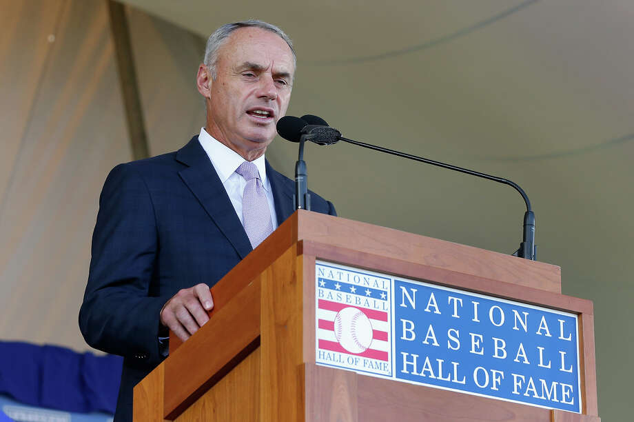MLB commissioner Rob Manfred speaks at Clark Sports Center during the Baseball Hall of Fame induction ceremony on July 29, 2018, in Cooperstown, N.Y. Photo: Jim McIsaac/Getty Images/TNS