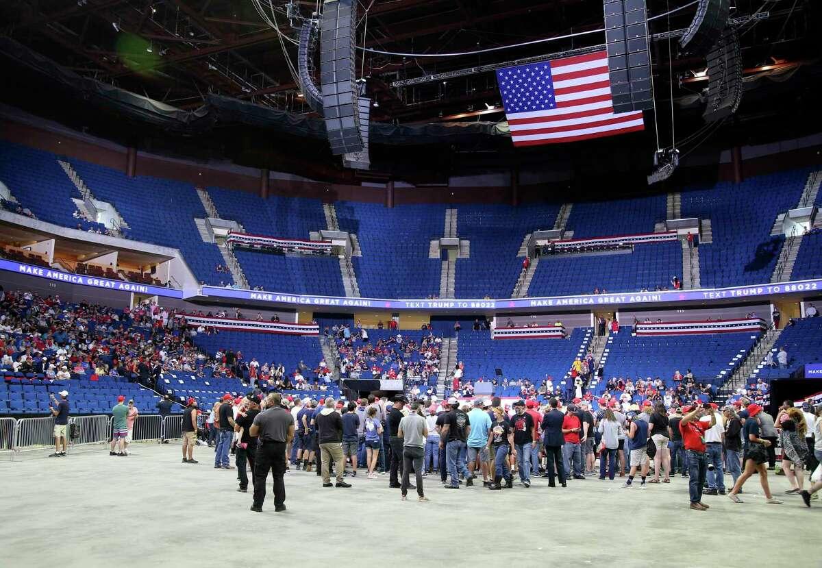 People begin to fill the arena floor before a campaign rally for President Donald Trump at BOK Center in downtown Tulsa, Okla., Saturday, June 20, 2020. (Matt Barnard/Tulsa World via AP)