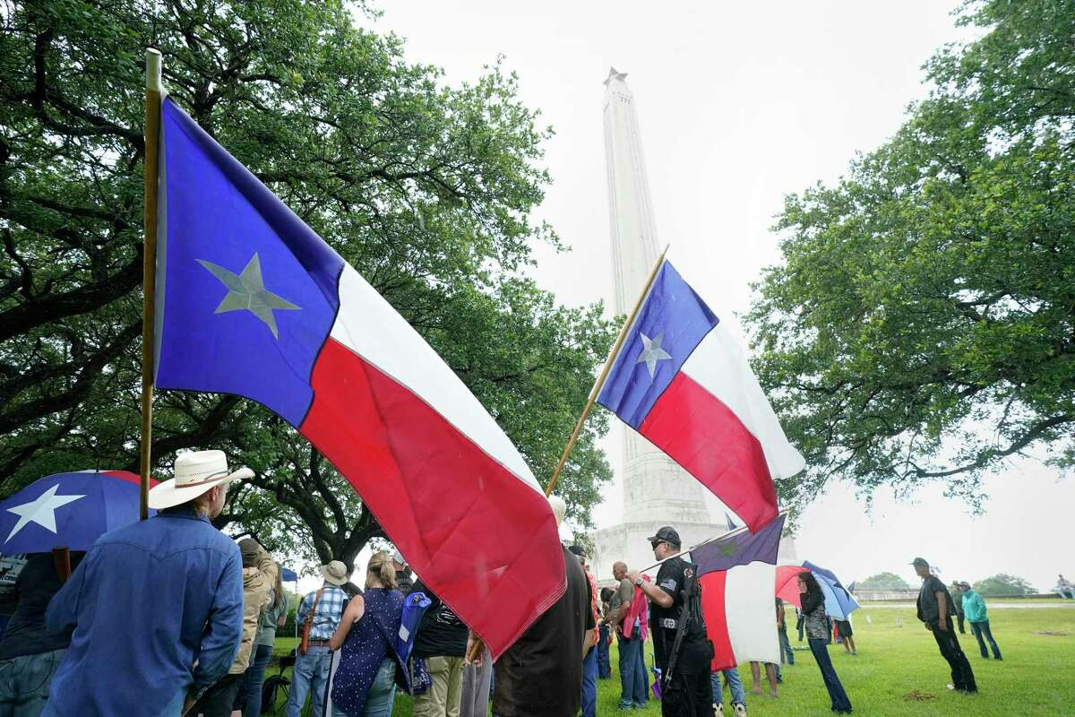 The This Is Texas Freedom Force rally at the San Jacinto Monument gathered to send a message to Gov. Greg Abbott about defending Texas landmarks.