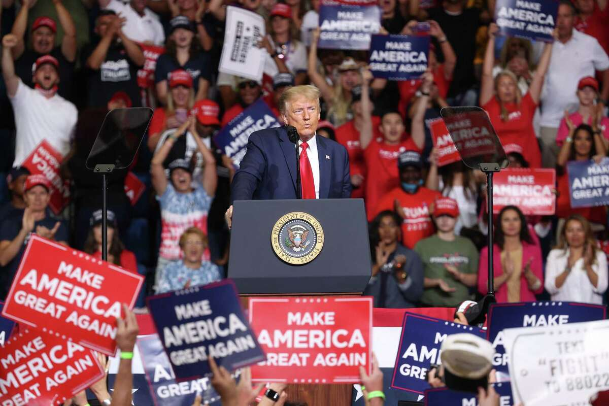TULSA, OKLAHOMA - JUNE 20: U.S. President Donald Trump speaks at a campaign rally at the BOK Center, June 20, 2020 in Tulsa, Oklahoma. Trump (Photo by Win McNamee/Getty Images)