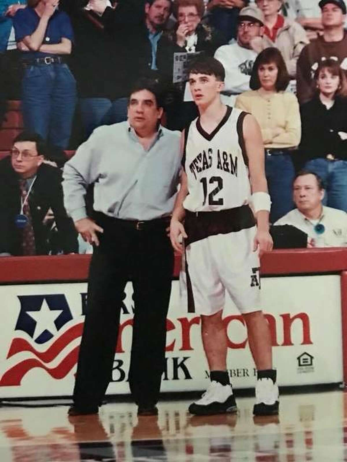 SIUE coach Brian Barone, right, is pictured with his father, the late Tony Barone.