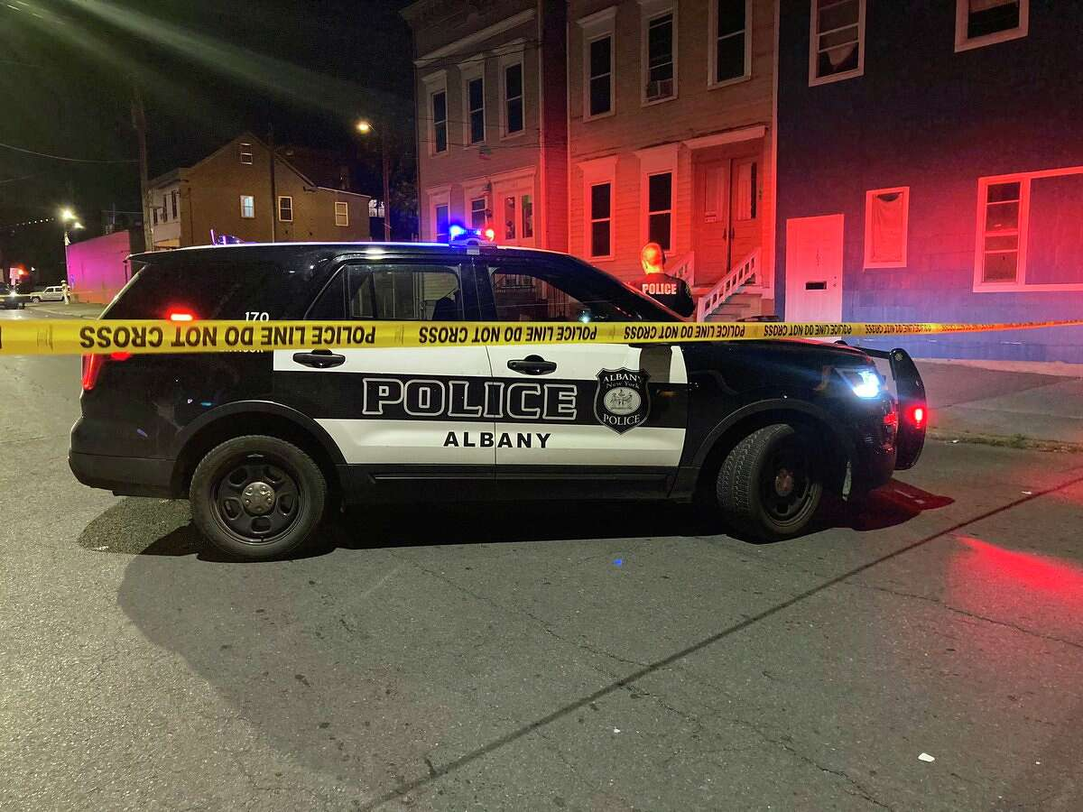 An Albany police SUV is shown parked near the scene of where police said a 24-year-old Albany man was shot and killed shortly before 11 p.m. on Saturday, June 20, 2020. The killing on North Lake Avenue near First Street was the city's second homicide since Thursday.