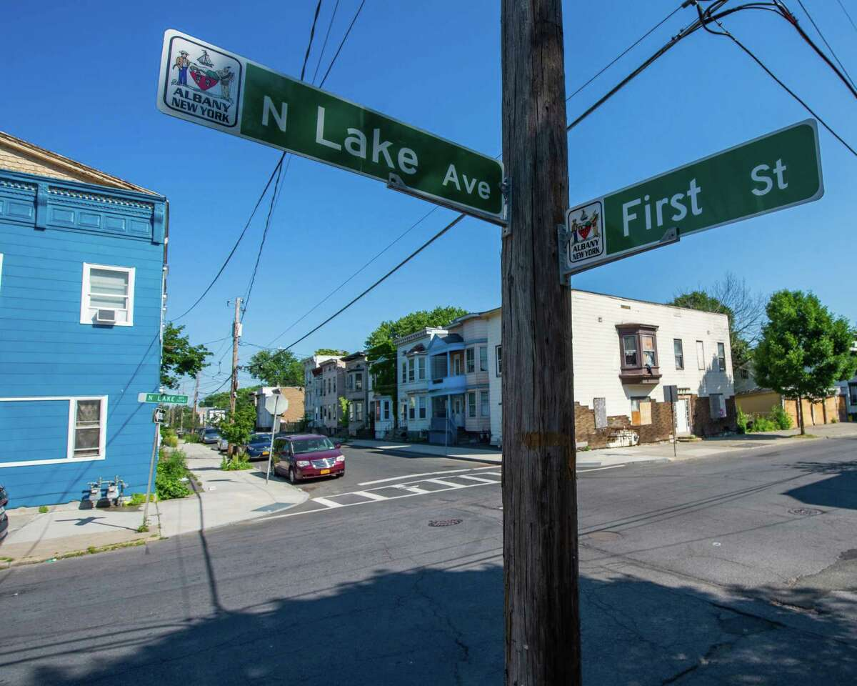 The intersection of North Lake Avenue and First Street in the City of Albany, where a 24-year-old man was shot and killed on Saturday, June 20, 2020 (Jim Franco/Special to the Times Union.)