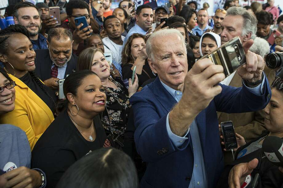Democratic presidential hopeful former Vice President Joe Biden takes photos with supporters following his speech during a campaign stop on Monday, March 2, 2020 at Texas Southern University in Houston. Photo: Brett Coomer, Staff Photographer