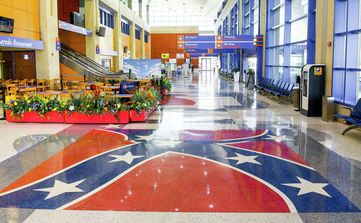 The confederate flag is displayed on the tiles of the Laredo International Airport, Monday, Jun 15, 2020.