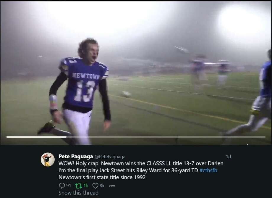 Video image captures scene following Riley Ward's game-winning touchdown catch gave Newtown its first state title since 1992 on the anniversary of Sandy Hook. Photo: Screenshot / Pete Paguaga