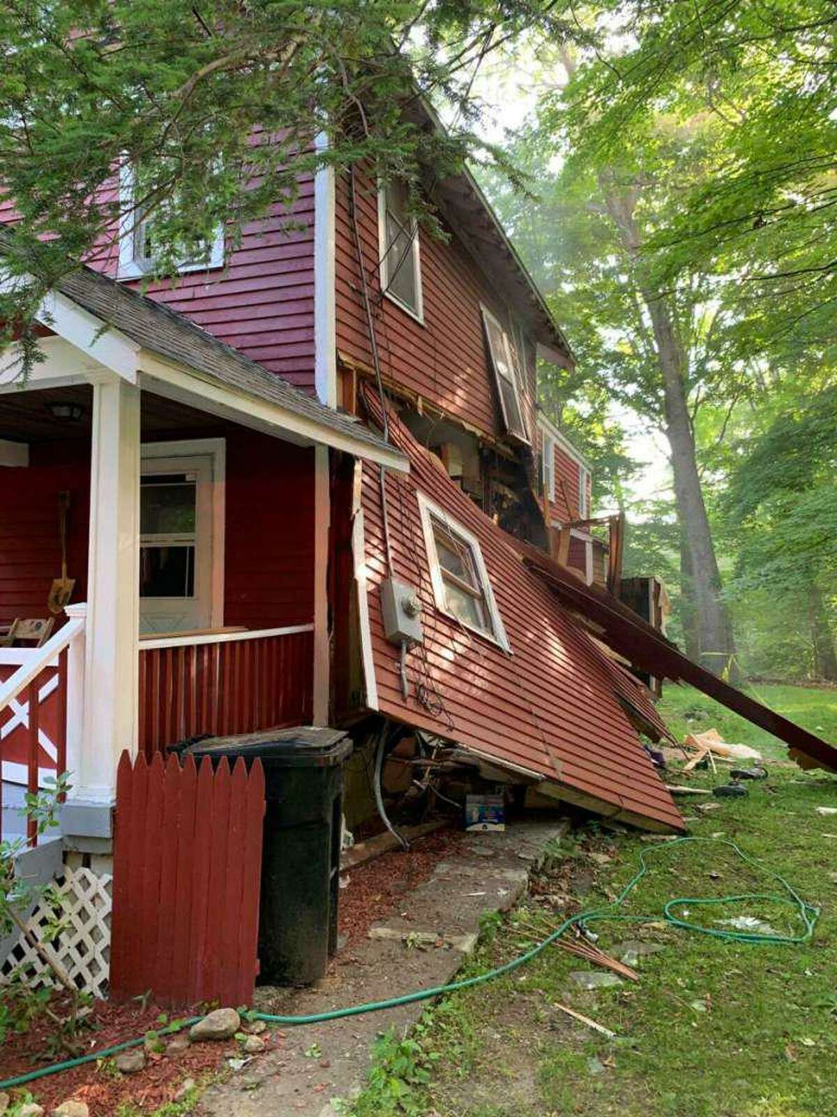 Firefighters say a propane leak caused because a homeowner was changing out a stove caused a huge explosion Saturday morning in North Stamford.