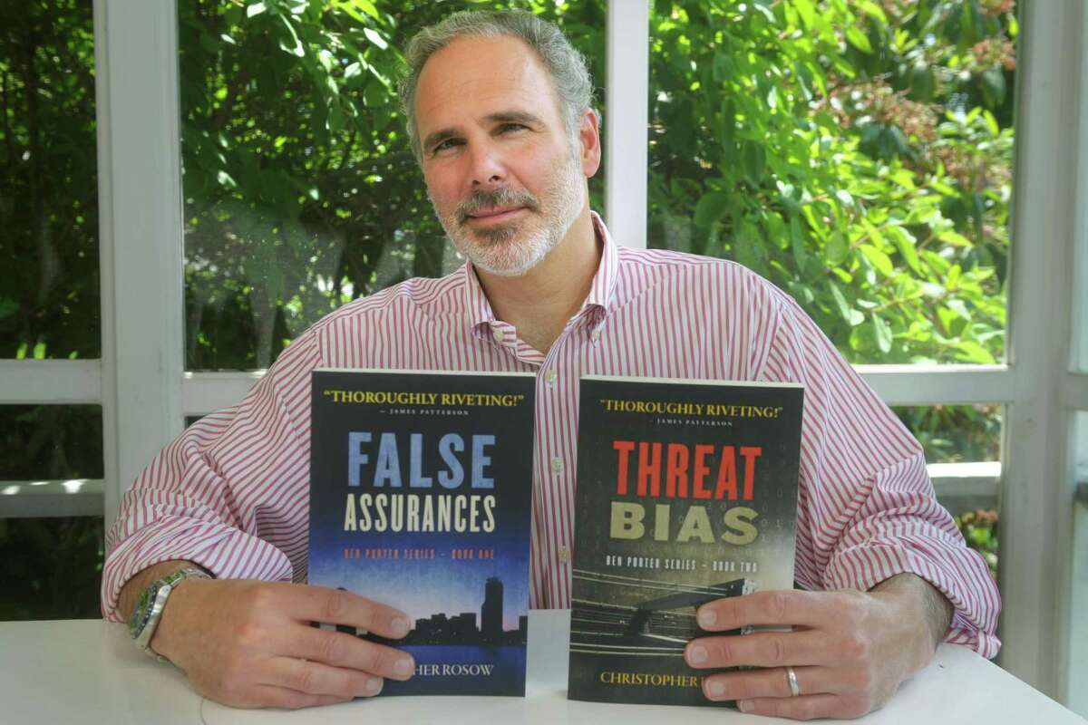 Christopher Rosow at home in Fairfield, Conn. June 9, 2020. Rosow recently published his first two novels.