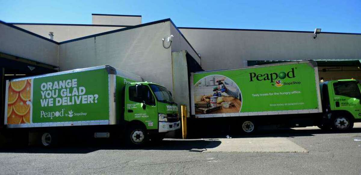 Peapod trucks in March 2020 at a Stop & Shop store in Norwalk, Conn.