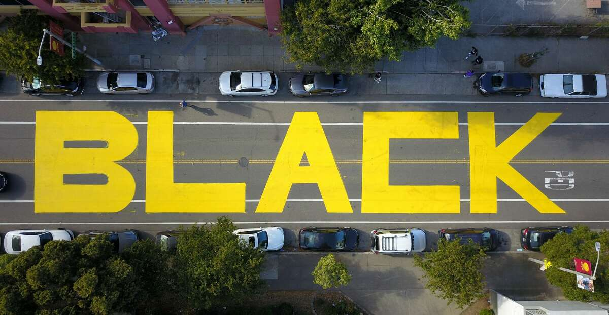 FILE - An aerial photo shows the painted word