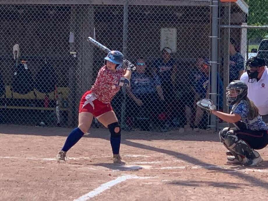 Mikala Gronback of Northwood University bats for Lady Explorers-Keeley in the 23U travel softball tournament held at Auburn City Park on Saturday. Photo: Photo Provided